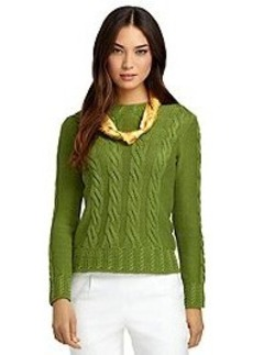Silk and Cotton Cable Knit Sweater
