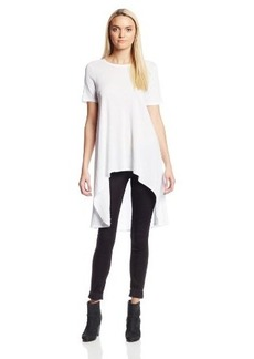 Three Dots Women's Short Sleeve Wide Scoop Neck High Low Top