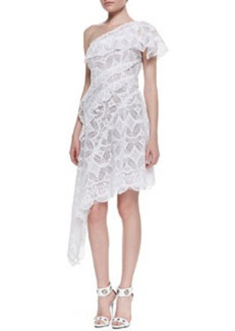 One-Shoulder Asymmetric Lace Cocktail Dress, Blanc   One-Shoulder Asymmetric Lace Cocktail Dress, Blanc