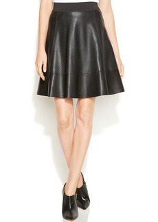 Alfani Petite Laser-Cut Faux-Leather Pleated Skirt