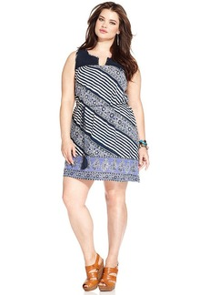 Lucky Brand Plus Size Sleeveless Printed Crochet Dress