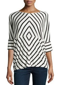 Max Studio Wide Nautical Stripe Jersey Top, Black/Ecru