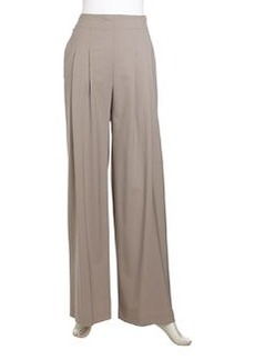 Lafayette 148 New York Ludlow Pleated Wide-Leg Suiting Pants, Driftwood