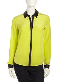 Central Park West Silk Contrast-Trim Blouse, Citron/Black