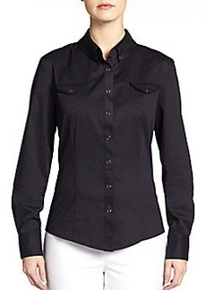 Elie Tahari Taylor Sateen Western Shirt