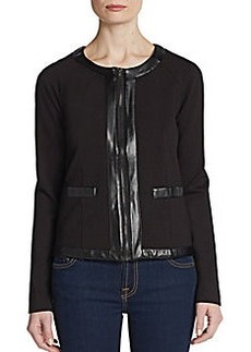 Saks Fifth Avenue BLACK Faux Leather-Trimmed Cropped Jacket