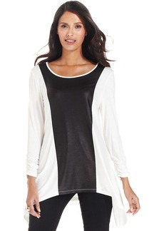 Style&co. Mixed-Media Faux-Leather Top