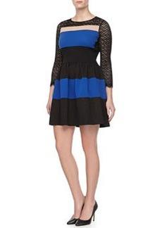 Diane Von Furstenberg Lace-Sleeve Banded Mini Dress