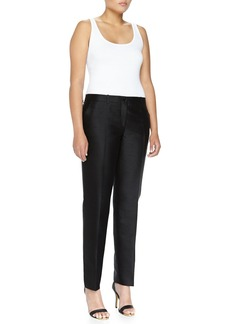 Michael Kors Samantha Slim Shantung Pants, Black, Women's