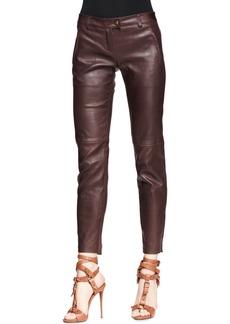 Escada Leather Stretch Zip-Front Pants, Mocha