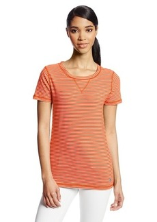 Jones New York Women's Short Sleeve Striped Active Scoop Neck Tee