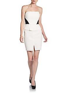 ABS Strapless Colorblock Peplum Dress