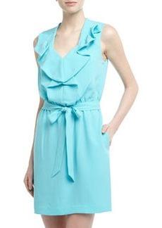 Diane von Furstenberg Bobbie Sleeveless Ruffled Crepe Dress, Blue Lagoon