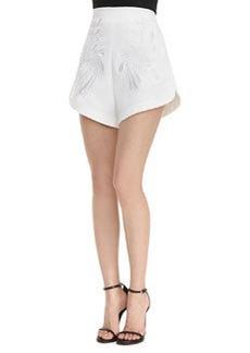 Robert Rodriguez Dandelion Embroidered High-Waist Shorts