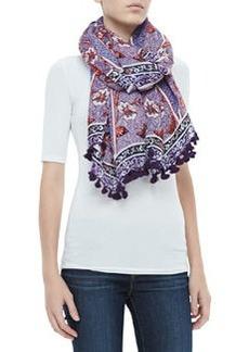 Olea Floral Pom-Pom Scarf, Purple   Olea Floral Pom-Pom Scarf, Purple