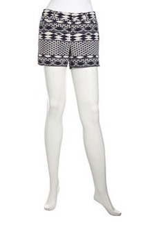 Laundry by Shelli Segal Geometric-Print Jacquard Shorts, Indigo Multi