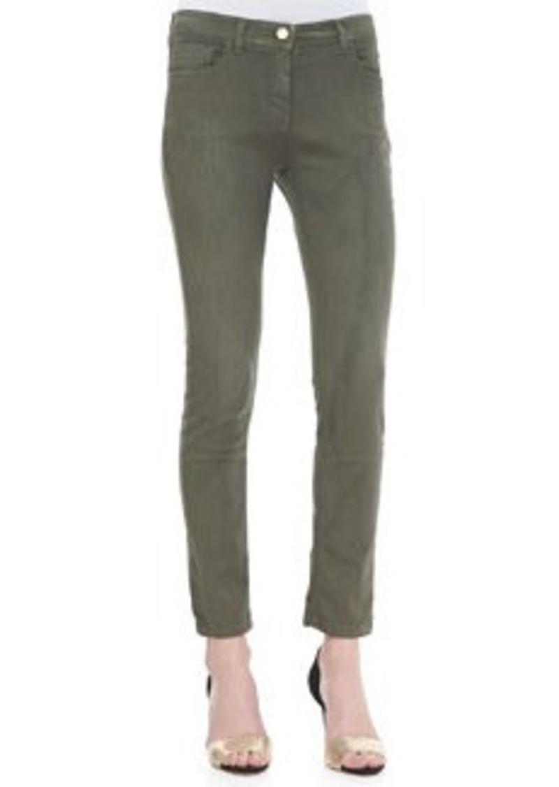 Etro Cropped 5-Pocket Skinny Jeans, Olive