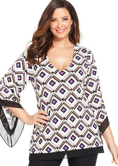 Alfani Plus Size Angel-Sleeve Printed Top