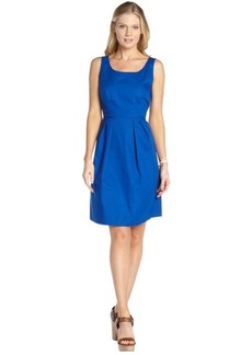 Tahari blue shock stretch cotton poplin 'Becca' dress