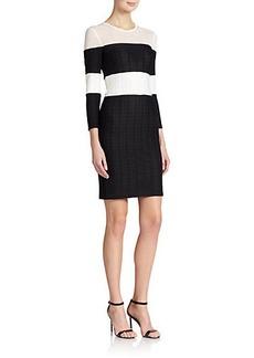 ABS Basketweave Knit Striped Dress