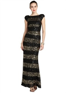 A.B.S. by Allen Schwartz black and gold striped sequin cap sleeve gown