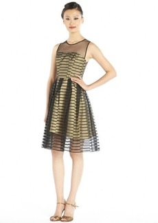 A.B.S. by Allen Schwartz black and gold striped sheer overlay pleated skirt party dress