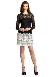 A.B.S. by Allen Schwartz black and ivory lace sheer yoke long sleeve dress