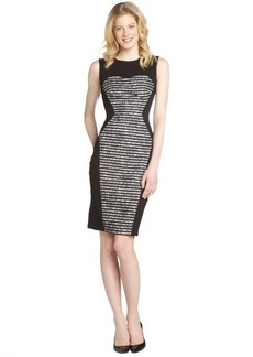 A.B.S. by Allen Schwartz black and ivory sleeveless lace striped dress
