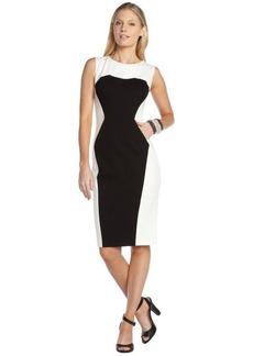 A.B.S. by Allen Schwartz black and ivory stretch colorblock sleeveless pocket dress