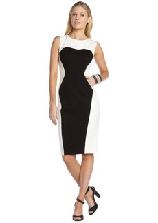 A.B.S. by Allen Schwartz black and ivory stretch colorblock sleeveless pocket dress