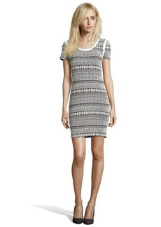 A.B.S. by Allen Schwartz black and ivory stretch printed short sleeve dress
