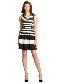 A.B.S. by Allen Schwartz black and ivory striped sleeveless v-neck dress