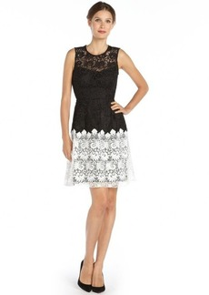 A.B.S. by Allen Schwartz black and ivory woven colorblock lace dress
