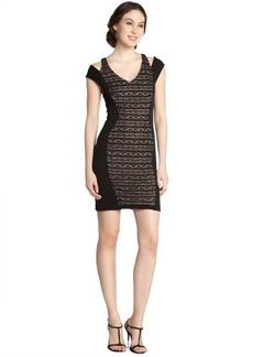 A.B.S. by Allen Schwartz black and nude knit slit cap sleeve dress