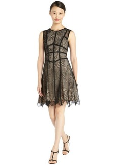 A.B.S. by Allen Schwartz black and nude lace fit and flare dress