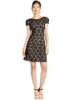 A.B.S. by Allen Schwartz black and nude lace woven fit and flare short evening dress