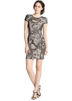 A.B.S. by Allen Schwartz black and nude printed lace cap sleeve dress