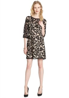 A.B.S. by Allen Schwartz black and nude stretch lace 3/4 sleeve dress