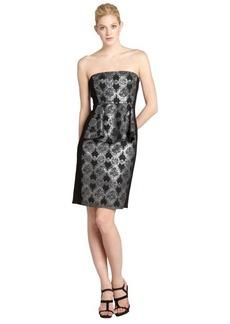 A.B.S. by Allen Schwartz black and silver shimmer floral jacquard bustled strapless dress