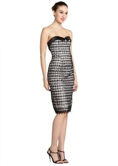 A.B.S. by Allen Schwartz black and white strapless sequin lace dress