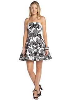 A.B.S. by Allen Schwartz black and white stretch cotton blend floral print strapless flare dress