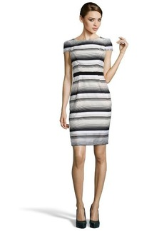 A.B.S. by Allen Schwartz black and white stretch cotton blend striped short sleeve dress