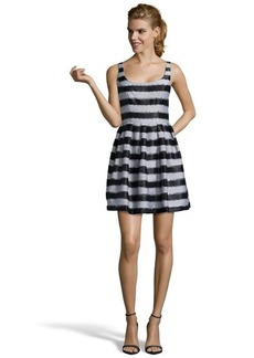 A.B.S. by Allen Schwartz black and white striped woven short fit and flare evening dress
