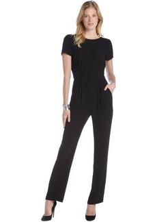 A.B.S. by Allen Schwartz black crepe short sleeve v-back jumpsuit