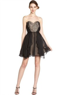 A.B.S. by Allen Schwartz black lace and silk chiffon strapless overlay dress