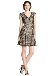 A.B.S. by Allen Schwartz black metallic lace cap sleeve dress