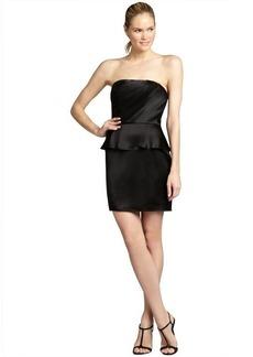 A.B.S. by Allen Schwartz black pleated satin strapless peplum dress
