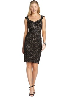 A.B.S. by Allen Schwartz black stretch lace detailed shift dress