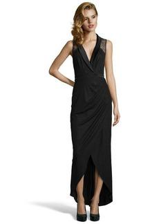 A.B.S. by Allen Schwartz black stretch lace detailed wrap gown