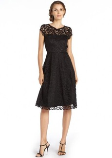 A.B.S. by Allen Schwartz black stretch lace embroidered accent cap sleeve fit and flare dress